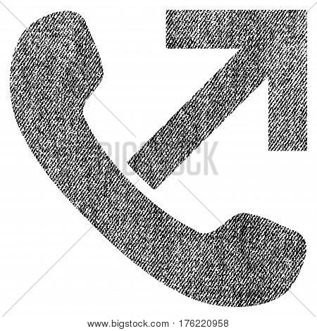 Outgoing Call vector textured icon for overlay watermark stamps. Fabric black vectorized texture. Symbol with dust design. Rubber seal stamp with fiber textile structure.