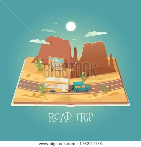Vector 3D Paper Graphics. Open book with mountain landscape. Arizona. Road in the desert. Road trip. Cardboard Graphic. SUV and trailer. Travel illustration. Flat style.