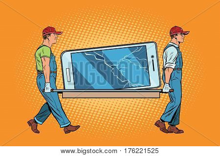 Repair of smartphones broke the screen. Pop art retro vector illustration