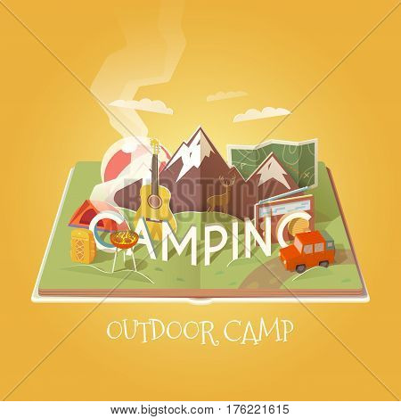 Vector 3D Paper Graphics. Open book with camping objects. Mountain landscape. Outdoor pursuits. Adventures in nature, vacation. Cardboard Graphic. Camping illustration. Flat style.