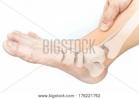 foot muscle pain white background foot injury