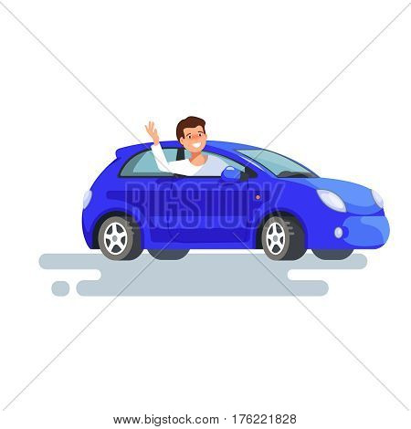 Vector flat illustration of happy man driver waved his hand sitting in his blue car. Design concept of buy a new car