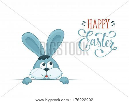Cartoon easter bunny isolated on white background. Fun illustration of rabbit with Happy Easter wording.