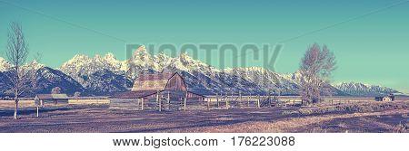 Retro Stylized Famous Grand Teton Panoramic View, Usa.
