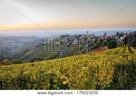 Treiso Le Langhe scenic landscape in autumn