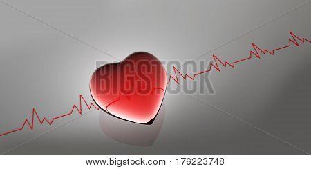 Heart beat shape. as medical background, 3d illustration