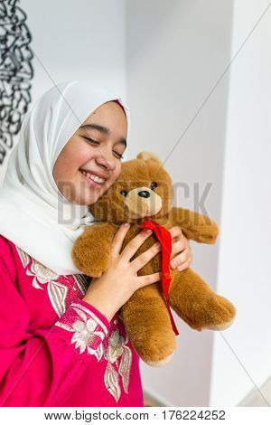 Arabic girl with Teddy bear