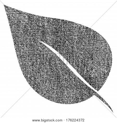 Plant Leaf vector textured icon for overlay watermark stamps. Fabric black vectorized texture. Symbol with unclean design. Rubber seal stamp with fiber textile structure.