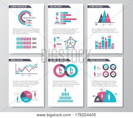 Vector business infographic brochure pages with demographics icons, charts and elements. Statistic page demographic, illustration of design business page with infochart