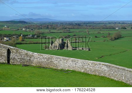 A scenic look at the old ruins of Hore Abbey in Ireland.