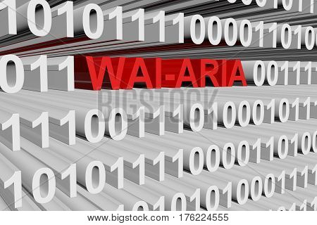WAI ARIA in the form of binary code, 3D illustration