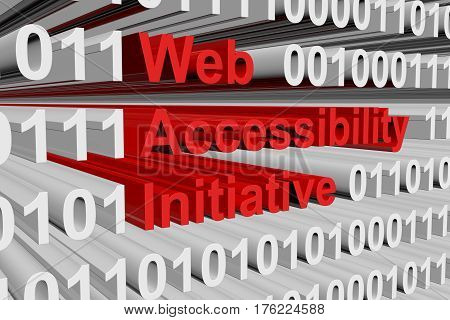 Web Accessibility Initiative in the form of binary code, 3D illustration