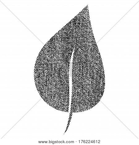 Plant Leaf vector textured icon for overlay watermark stamps. Fabric black vectorized texture. Symbol with scratched design. Rubber seal stamp with fiber textile structure.