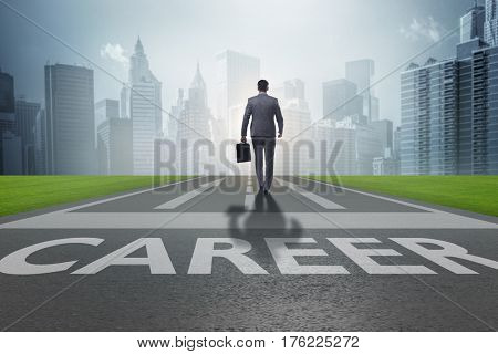 Businessman walking towards his career aspirations