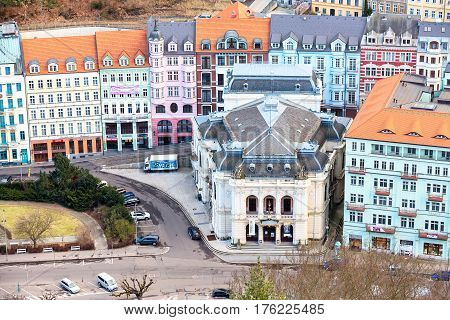 Karlovy Vary, Czech Republic - February 24, 2017: Karlovy Vary, aerial panoramic famous spa town view with theater house