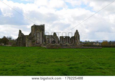 Lush scenic ruins of Hore Abbey in Ireland.