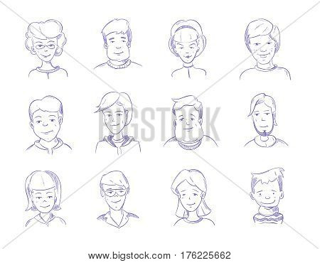 Doodle human heads, hand drawn adult portraits, sketch people characters vector set. Illustration of human head, characters human drawn with ballpoint pen
