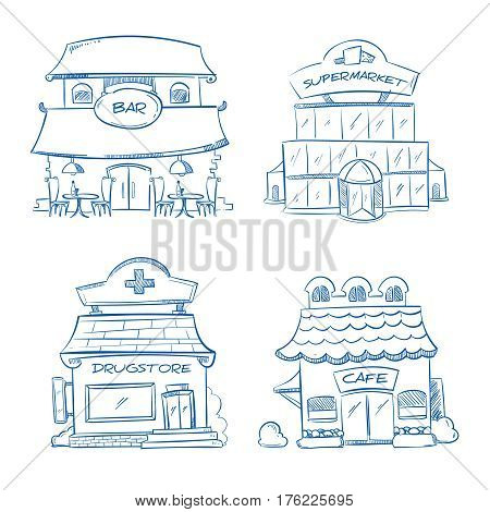 Doodle building facade of shop, bar, cafe, mall, pharmacy. Hand drawn vector illustration. Building facade drugstore and bar, sketch of facade supermarket and cafe