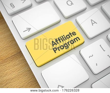 Affiliate Program Written on the Yellow Button of Metallic Keyboard. Message on the Keyboard Enter Key, for Affiliate Program Concept. 3D Illustration.