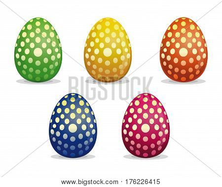 Set Easter eggs. Easter eggs painted with polka dots. Eggs dotted vector icon. Easter eggs for Easter holidays design. Vector illustration isolated on white background