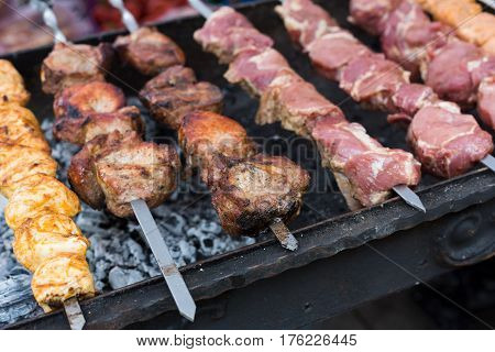 Raw kebab grilling on metal skewer. Chicken and meat roasting at barbecue. BBQ fresh beef chop slices. Traditional eastern dish, shish kebab. Grill on charcoal and flame, picnic, street food