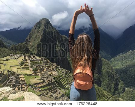 girl on mountians  with amazing view in Peru