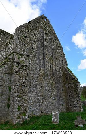 Outside wall of Hore Abbey still standing.