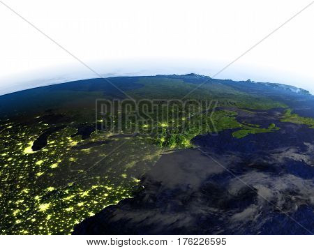 East Coast Of Canada At Night On Realistic Model Of Earth
