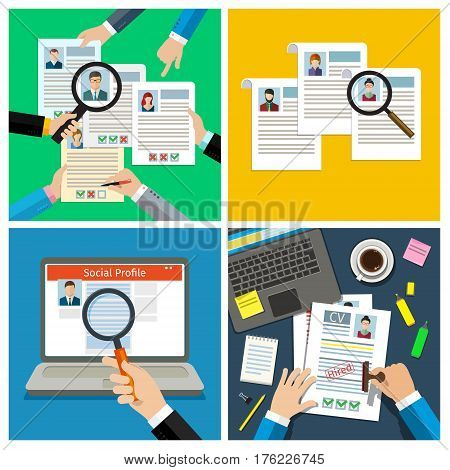 Set of job interview concept with business cv resume. Cv resume in hands, cv resume on the table. Check cv resume. Flat vector illustration.