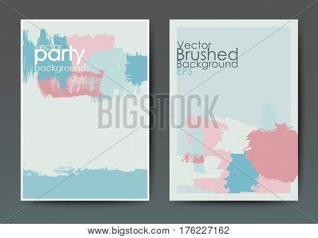 Modern grunge brush design templates, invitation, banner, art vector cards design in blue and pink