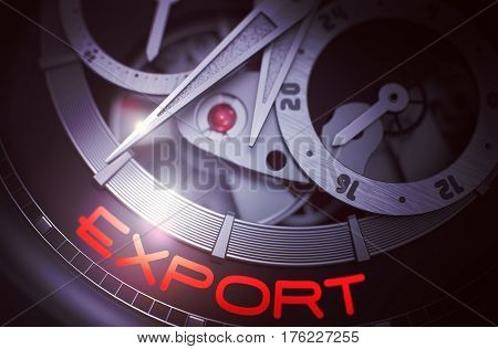 Close-Up Automatic Wrist Watch with Stainless Steel Wrist and Export Inscription on Face. Export on the Mechanical Wrist Watch, Chronograph Closeup. Business Concept with Lens Flare. 3D Rendering.