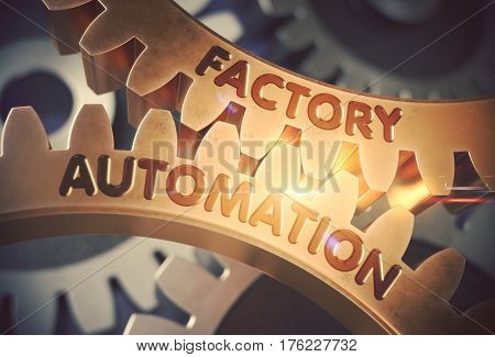 Factory Automationon Golden Metallic Gears. Factory Automation on Mechanism of Golden Metallic Cog Gears with Lens Flare. 3D Rendering.