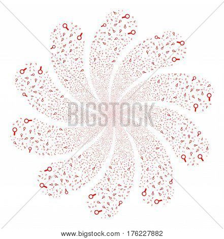 Search fireworks swirl flower with ten petals. Vector illustration style is flat red scattered symbols. Object whirl constructed from random pictographs.