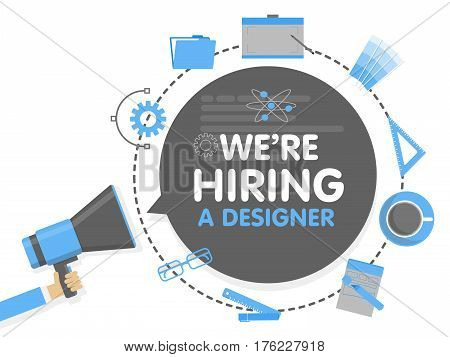 We hire a designer. Megaphone concept vector illustration. Banner template, ads, search for employees, hiring graphick artist for work.
