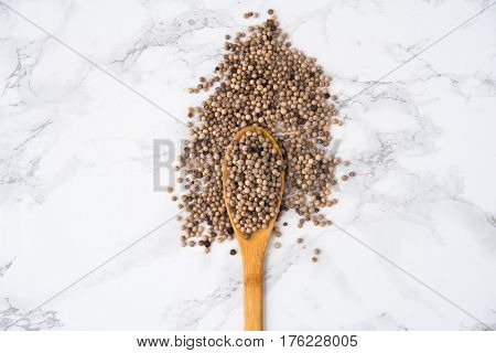 Top view of a wooden spoon full of white peppercorns isolated on white marble background