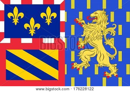 Flag of Bourgogne-Franche-Comte is a Region of France created by the territorial reform of French Regions in 2014 by the merger of Burgundy and Franche-Comte.