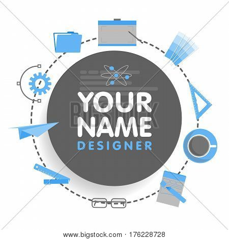 Social network designer avatar. Place for your name. Template of the artist portfolio, banners, announcements, web sites and other projects. Vector illustration