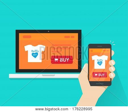 Responsive internet shop design, online store web site page showed on laptop and smartphone in hand, ecommerce shop website on computer and mobile phone, flat cartoon style