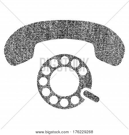 Pulse Dialing vector textured icon for overlay watermark stamps. Fabric black vectorized texture. Symbol with unclean design. Rubber seal stamp with fiber textile structure.