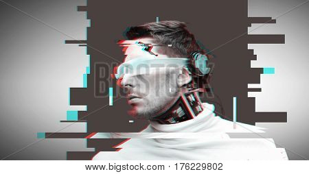 people, cyberspace, future technology and progress - man cyborg with 3d glasses and microchip implant or sensors over virtual glitch effect