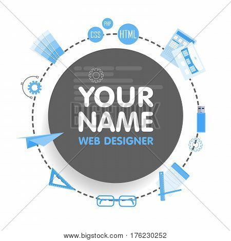 Social network web designer avatar. Place for your name. Template of the portfolio, banners, announcements, web sites and other projects. Vector illustration.