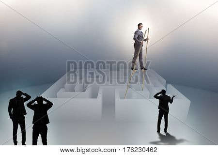 Businessman walking on stilts - standing out from the crowd