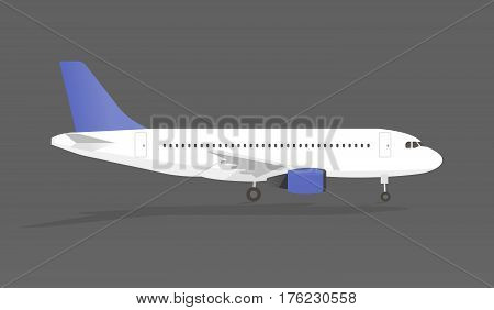 Airplane with shadow in gray backgroundi vector illustration.