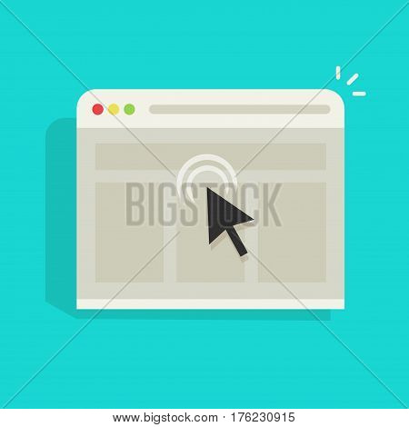 Mouse arrow click on browser web site window vector icon, black cursor clicking on internet website page isolated on blue background