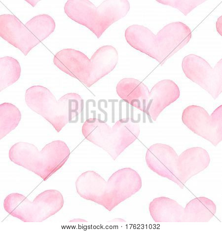 Watercolor hearts seamless background. Colorful watercolor heart pattern. Colorful watercolor romantic texture.