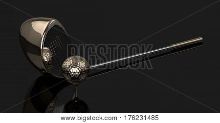 3D Render Of Golf Ball With Golf Club Over Dark