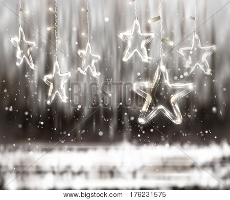 Christmas background of de-focused lights with decorated Glass Stars, vector