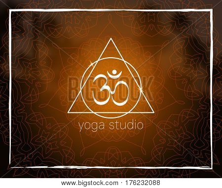 Shiny floral mandala on sunset tropic blurred background. Om symbol. Sacred geometry. For yoga studio, tantra or meditation classes and retreat. Banner, flyer, invitation. Vector EPS10 illustration.