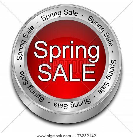 red Spring Sale Button - 3D illustration