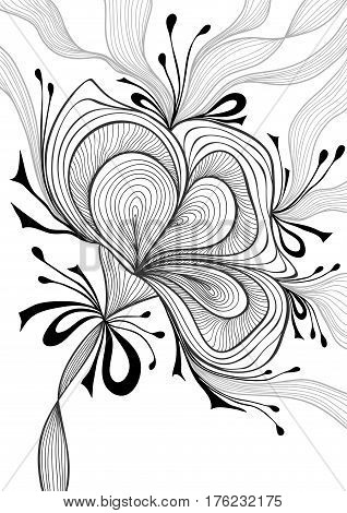 Beautiful abstract background with lace flower bows black on white for wallpaper or  decoration package perfumer textile clothes or for screen on mobile telephone tablet or for banners or for coloring page